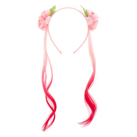 Claire's Club Faux Hair Floral Headband - Pink