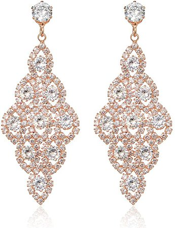 Amazon.com: silver gold rose gold plated earrings for women chandelier wedding earrings for brides (rose gold): Clothing