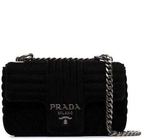 black diagramme suede leather shoulder bag