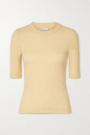 Cotton-jersey T-shirt - Pastel yellow