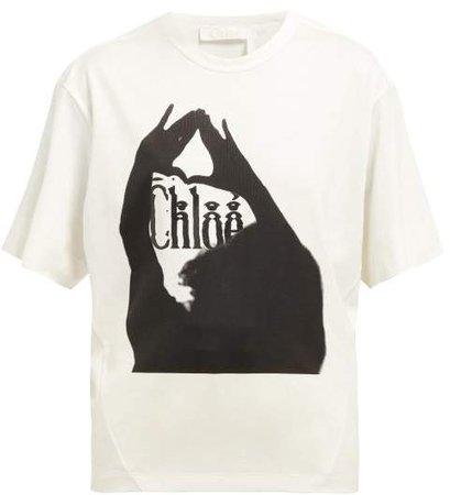 Logo Print Cotton T Shirt - Womens - White Black