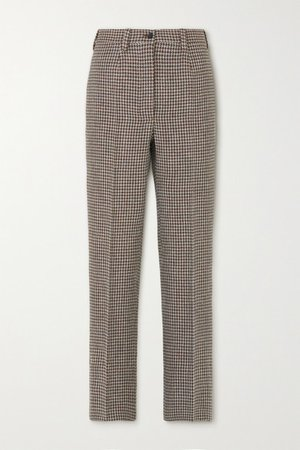 The Altea Houndstooth Wool Straight-leg Pants - Brown