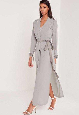Carli Bybel Maxi Duster Coat Grey | Missguided