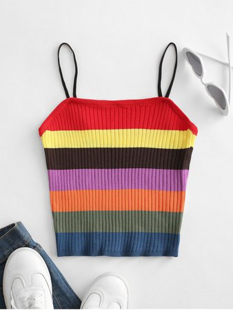 [37% OFF] [HOT] 2020 Knitted Colorblock Stripes Cami Top In MULTI-A | ZAFUL