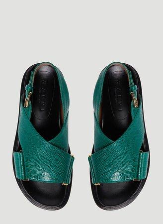 Marni Embossed Fussbett Sandals in Green | LN-CC