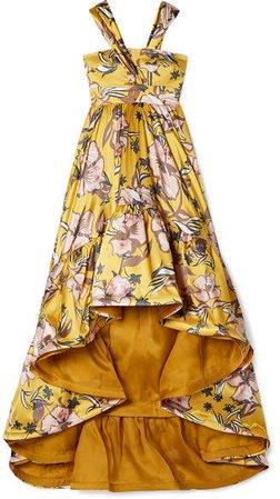 Silvia Tcherassi - Búgula Asymmetric Floral-print Silk-blend Satin Maxi Dress - Yellow