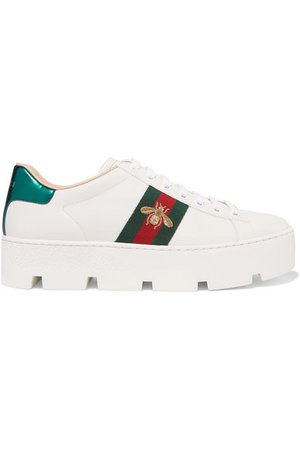 Gucci | New Ace embroidered leather platform sneakers | NET-A-PORTER.COM