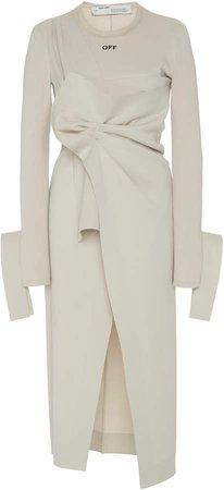 Off White C/O Virgil Abloh Logo-Printed Wrap Midi Dress
