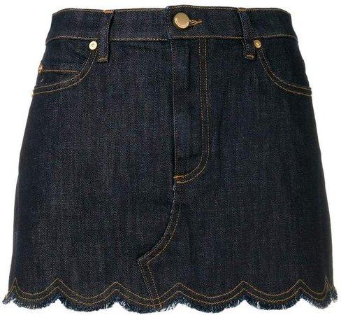 scallop denim mini skirt