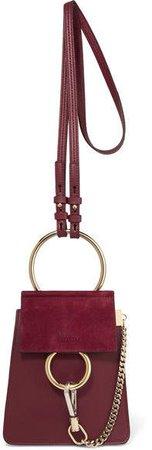 Faye Bracelet Leather And Suede Shoulder Bag - Burgundy