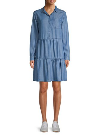 Pure Navy Tiered Chambray Shirtdress on SALE | Saks OFF 5TH
