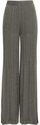 Metallic Ribbed-knit Wide-leg Pants