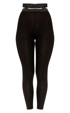 Favianna Black Strappy Waist Leggings   Dresses     PrettyLittleThing