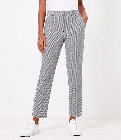 The Petite Perfect Straight Pant in Gingham Stretch Double Weave