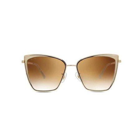 Lil Becky Cat Eye Sunglasses | Gold Frames & Flash Brown Gradient Lenses – DIFF Eyewear