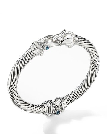 David Yurman 7mm Cable Buckle Bracelet w/ Diamonds & Topaz | Neiman Marcus