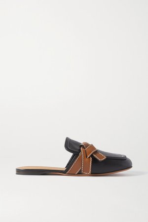 Gate Topstitched Two-tone Leather Loafers - Black