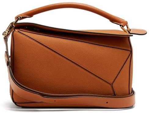 Puzzle Grained Leather Cross Body Bag - Womens - Tan