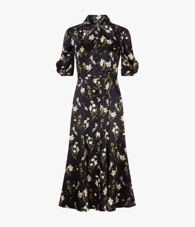 Gisella Dress Daffodil Silk Daffodil Ditsy Silk Satin