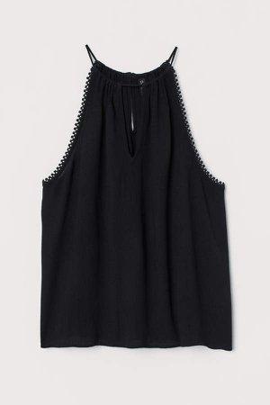 Sleeveless Crinkled Top - Black