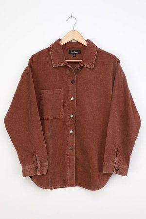 Brown Corduroy Top - Cotton Button-Up Top - Long Sleeve Top - Lulus