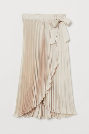 Pleated Wrap-front Skirt - Beige