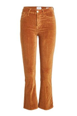 Le Crop Mini Bootcut Flared Velvet Pants Gr. 27