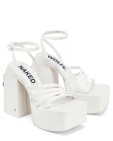 JADA WHITE LEATHER - platform sandal