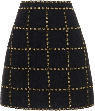 Andrew Gn Check-Detailed Wool Mini Skirt