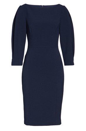 Eliza J Pleated Sleeve Sheath Dress black