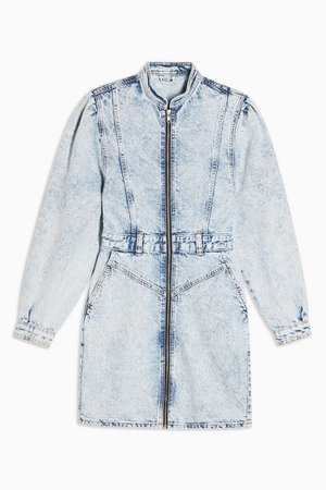 Long Sleeve 80s Acid Denim Shirt Dress | Topshop