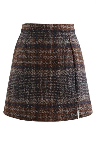 Check Print Wool-Blend Mini Bud Skirt in Caramel - Retro, Indie and Unique Fashion