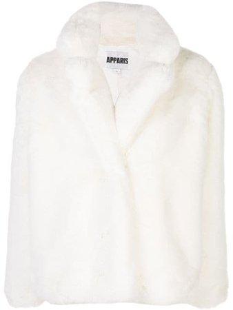 Apparis Faux Fur Coat MANON White   Farfetch
