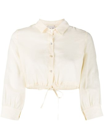 L'Autre Chose drawstring-hem Cropped Shirt - Farfetch