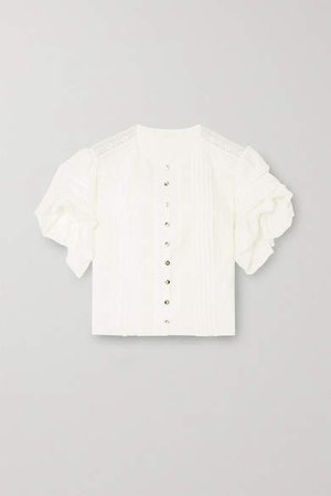 Ruffled Lace-trimmed Cotton-blend And Silk Blouse - White