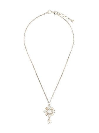 Chanel Pre-Owned Rhinestone CC Necklace - Farfetch