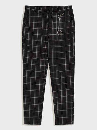 Men Slant Pocket Grid Pants With Chain   SHEIN USA