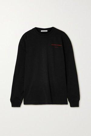 Oversized Printed Cotton-jersey Sweatshirt - Black