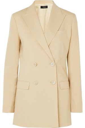 Theory Double-breasted beige blazer