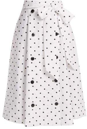 Diana Polka Dot Linen Skirt - Womens - White Multi