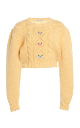 Floral-Embroidered Alpaca-Blend Cropped Sweater by Alessandra Rich | Moda Operandi