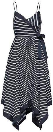 Stripe Strappy Handkerchief-Hem Dress