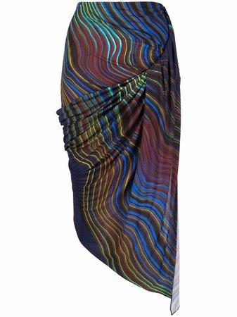 Mugler abstract-print Asymmetric Skirt - Farfetch