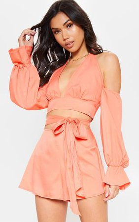 Peach Halterneck Puff Sleeve Shirt | Tops | PrettyLittleThing
