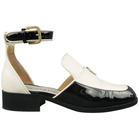 CHANEL Size 5.5 Black and White Leather Ankle Strap Loafer Flats For Sale at 1stdibs