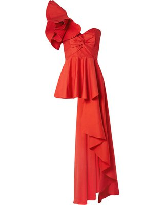 Shopping Special: Johanna Ortiz - Paso Doble One-shoulder Ruffled Cotton-blend Poplin Top - Red