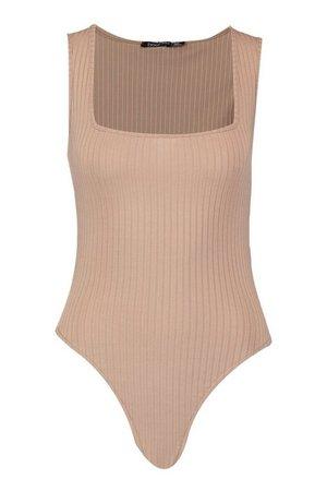Square Neck Wide Rib Bodysuit | Boohoo