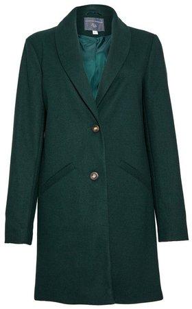 **DP Tall Green Mini Shawl Collar Coat