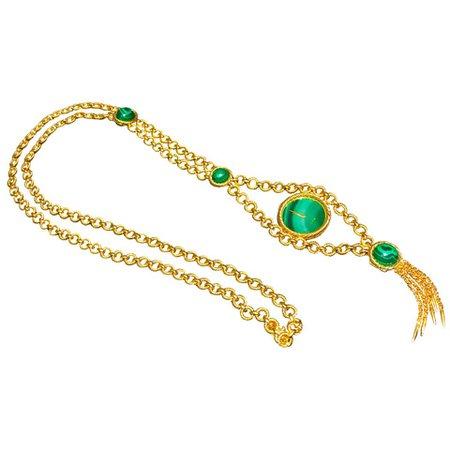 Very Rare 1960s-1970s Piaget 18 Karat Gold Malachite Necklace and Bracelet Watch at 1stDibs