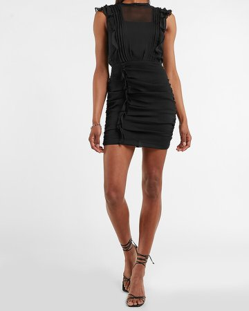 Ruched Ruffle Sheath Dress